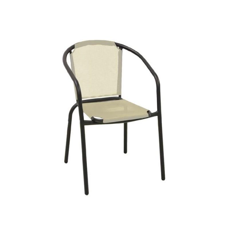 """Πολυθρόνα """"BALENO"""" μεταλλική μαύρη με textilene εκρού 53x58x77"""