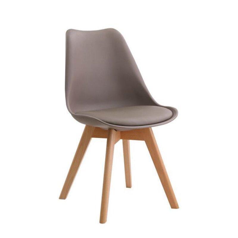 """Καρέκλα """"MARTIN"""" ξύλινη-pu χρώματος sand-μπεζ 48x50x82"""