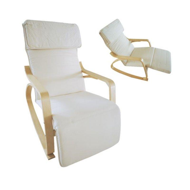 """Πολυθρόνα """"HAMILTON"""" super relax από μασιφ σημύδα και ύφασμα σε λευκό χρώμα 67x127x90"""