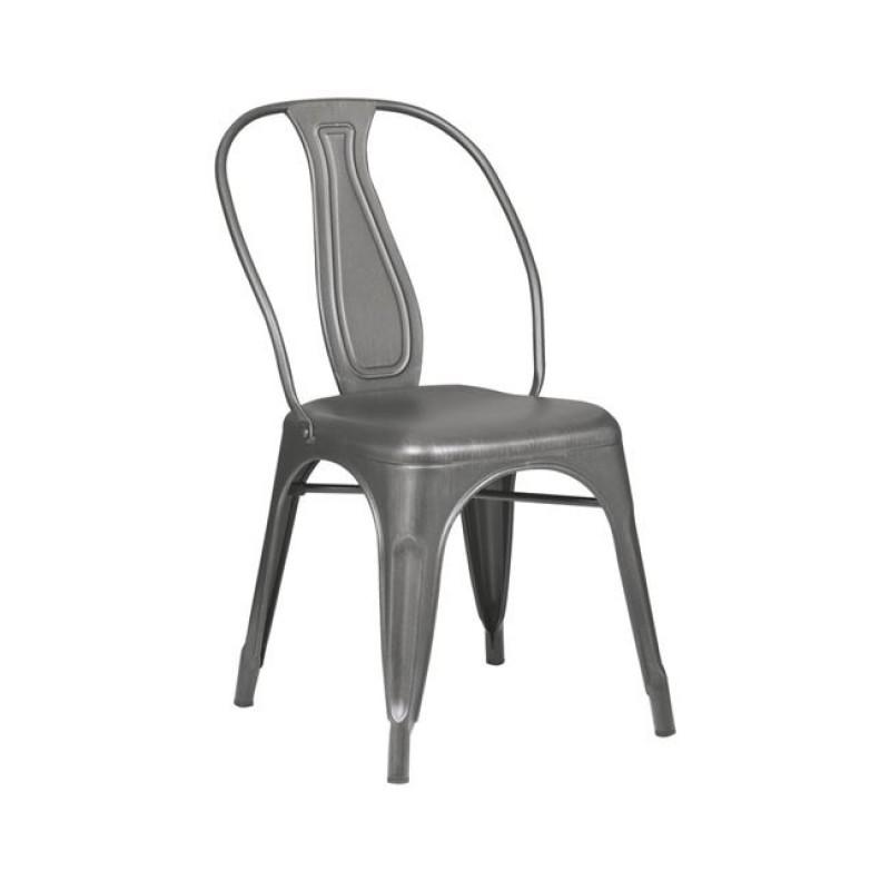 """Καρέκλα """"RELIX"""" μεταλλική σε ασημί χρώμα 47x54x85"""