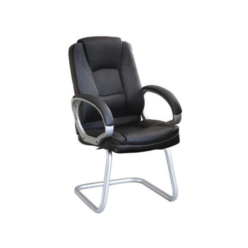 Πολυθρόνα επισκέπτη από τεχνόδερμα σε μαύρο χρώμα 63x65x100