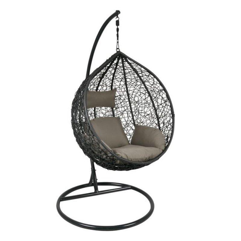 """Πολυθρόνα κρεμαστή """"ISABEL"""" wicker σε γκρι-καφέ 105x112x114/208"""