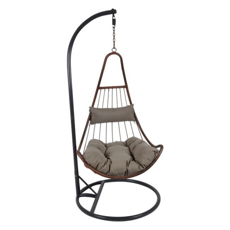 """Πολυθρόνα κρεμαστή  """"LOTO"""" μεταλλική-wicker σε καφέ χρώμα 83x83x120/203"""