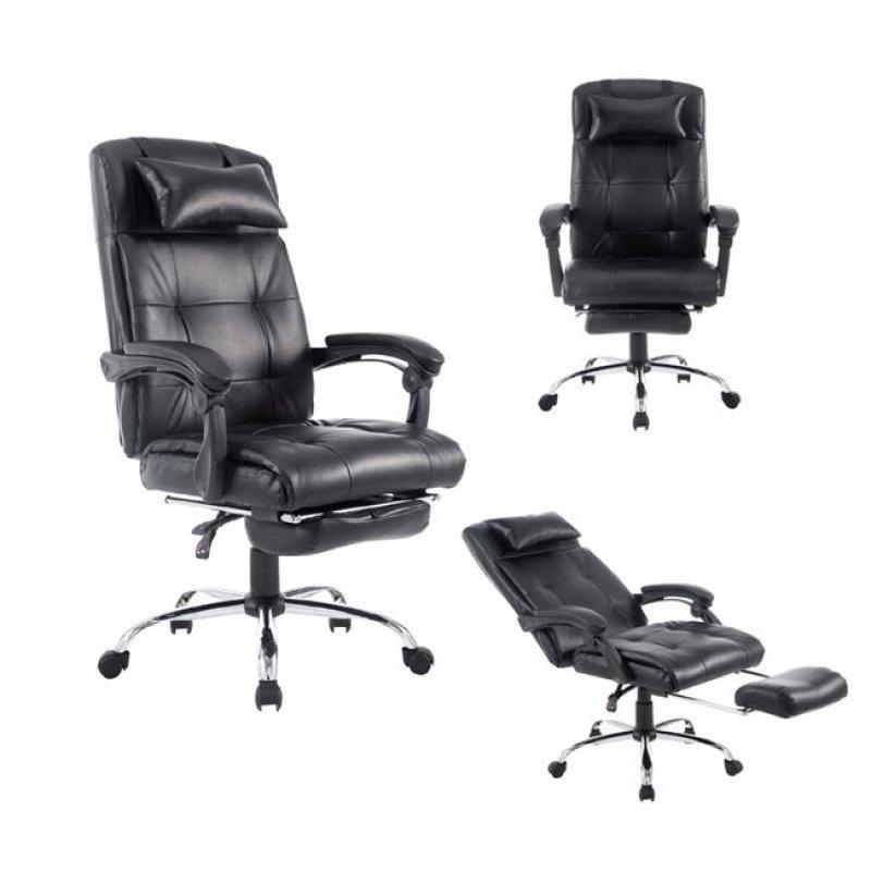 """Πολυθρόνα διευθυντή """"RELAX"""" από τεχνόδερμα σε μαύρο χρώμα 66x72x117/127"""
