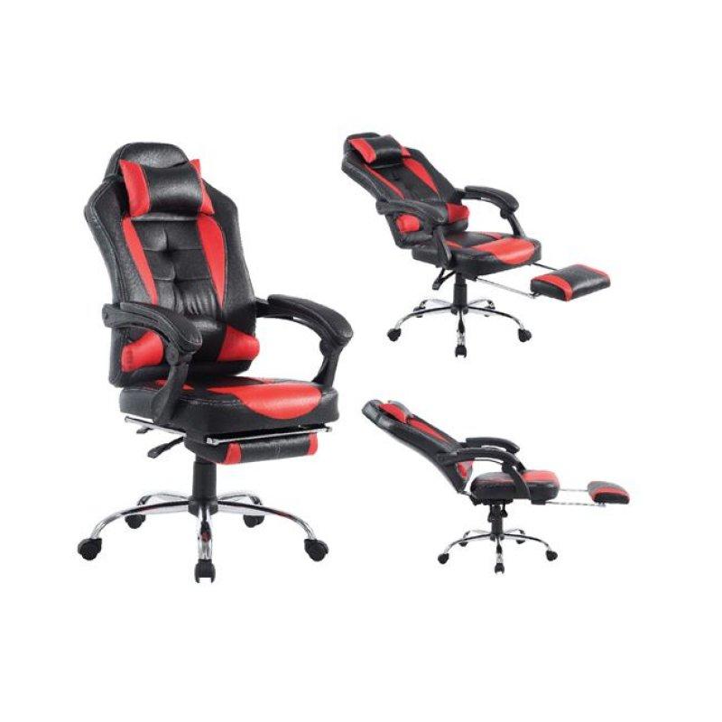 """Πολυθρόνα διευθυντή """"RELAX"""" από τεχνόδερμα σε μαύρο-κόκκινο χρώμα 66x72x120/130"""