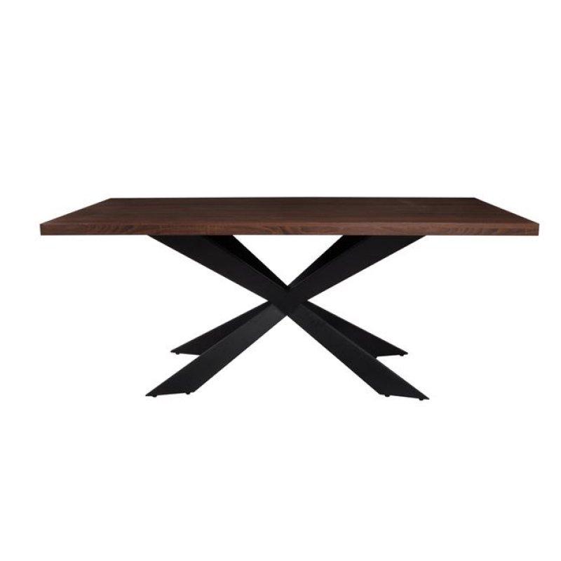 """Τραπέζι """"TORSEN"""" μεταλλικό με επιφάνεια σε σκούρο καρυδί 180x90x75"""