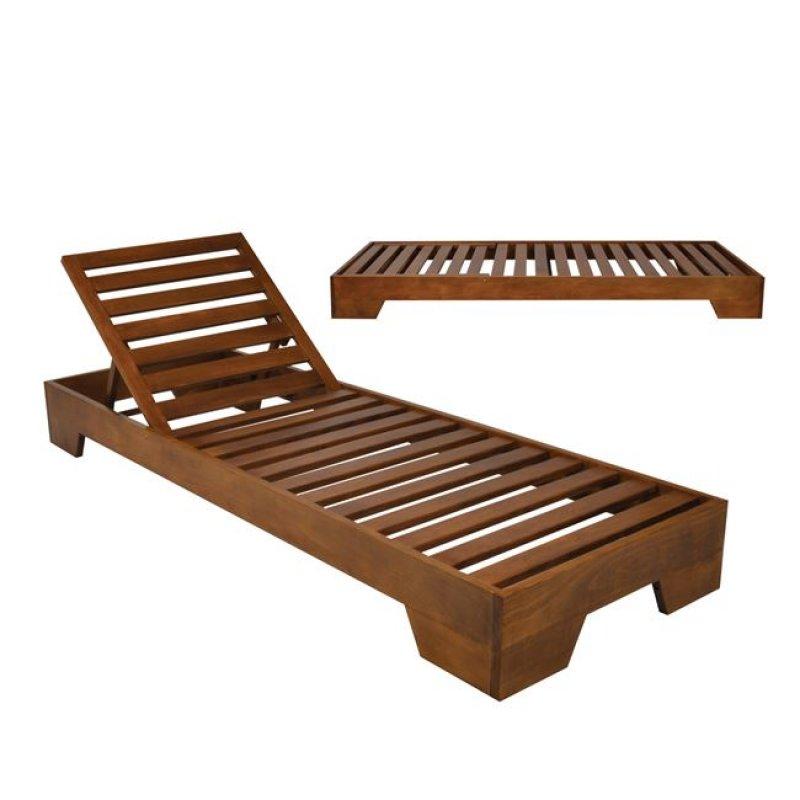 """Ξαπλώστρα """"VERANO"""" ξύλινη σε χρώμα καρυδί 74x213x22"""