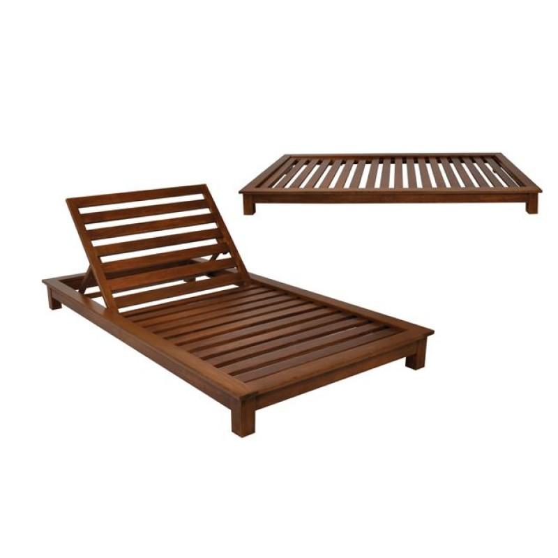 """Ξαπλώστρα """"VERANO"""" ξύλινη διθέσια σε καρυδί χρώμα 110x206x18"""