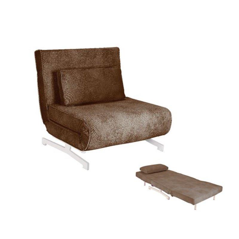 """Πολυθρόνα -κρεβάτι """"FALCO"""" από ύφασμα σε χρώμα καφέ 90x89x88"""
