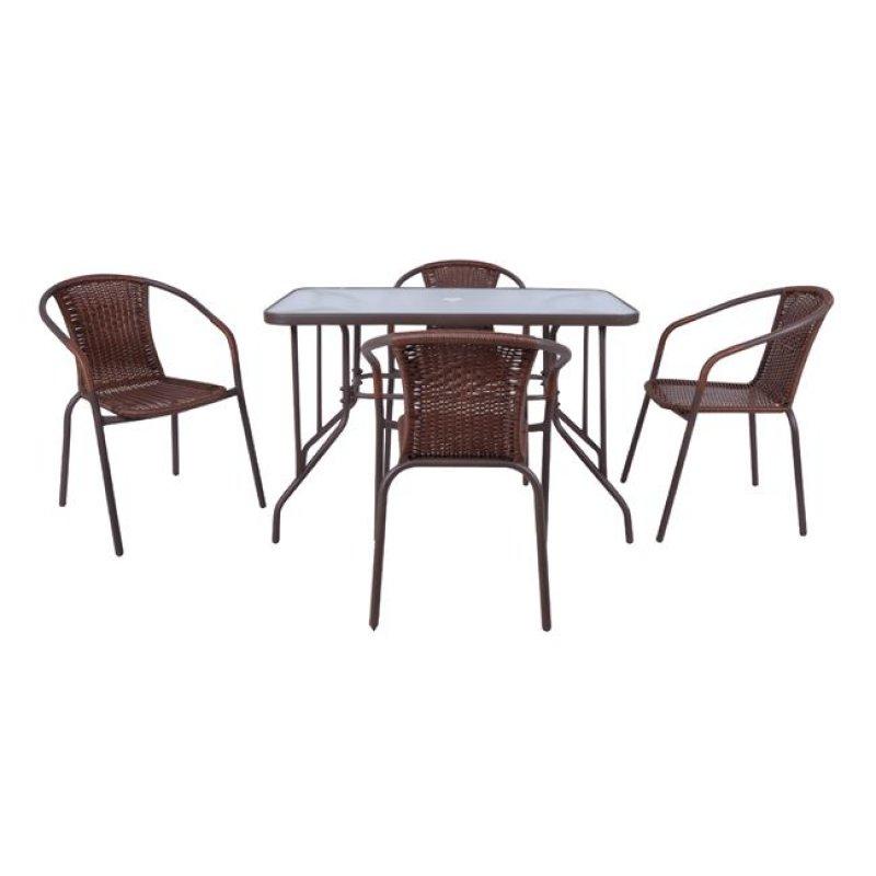 """Σετ κήπου """"BALENO"""" μεταλλικό-wicker σε καφέ χρώμα 110x60x71"""