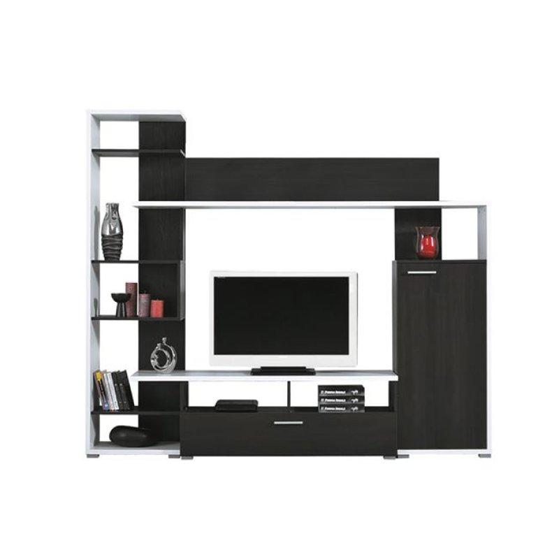 """Σύνθεση σαλονιού """"LIFE"""" σε χρώμα λευκό-μαύρο δρυς 200x40x180"""
