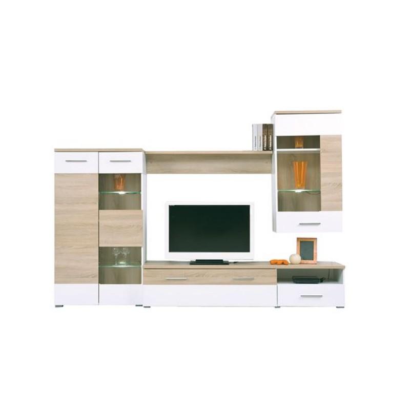 """Σύνθεση σαλονιού """"LIFE"""" σε χρώμα sonoma-λευκό 210x40x120"""