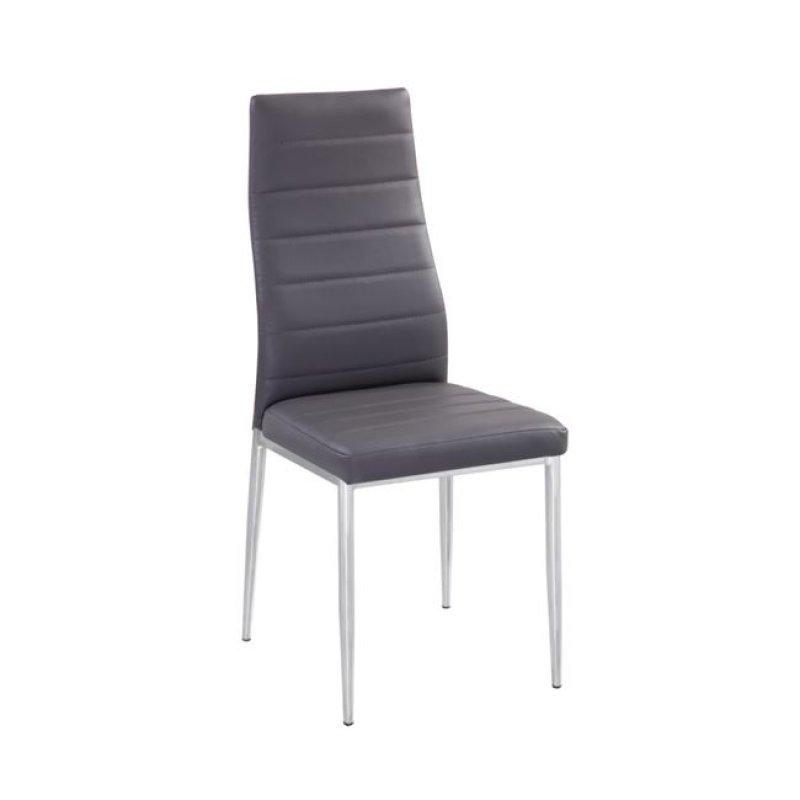 """Καρέκλα """"JETTA-I"""" χρωμίου-pvc χρώματος γκρι 40x50x95"""