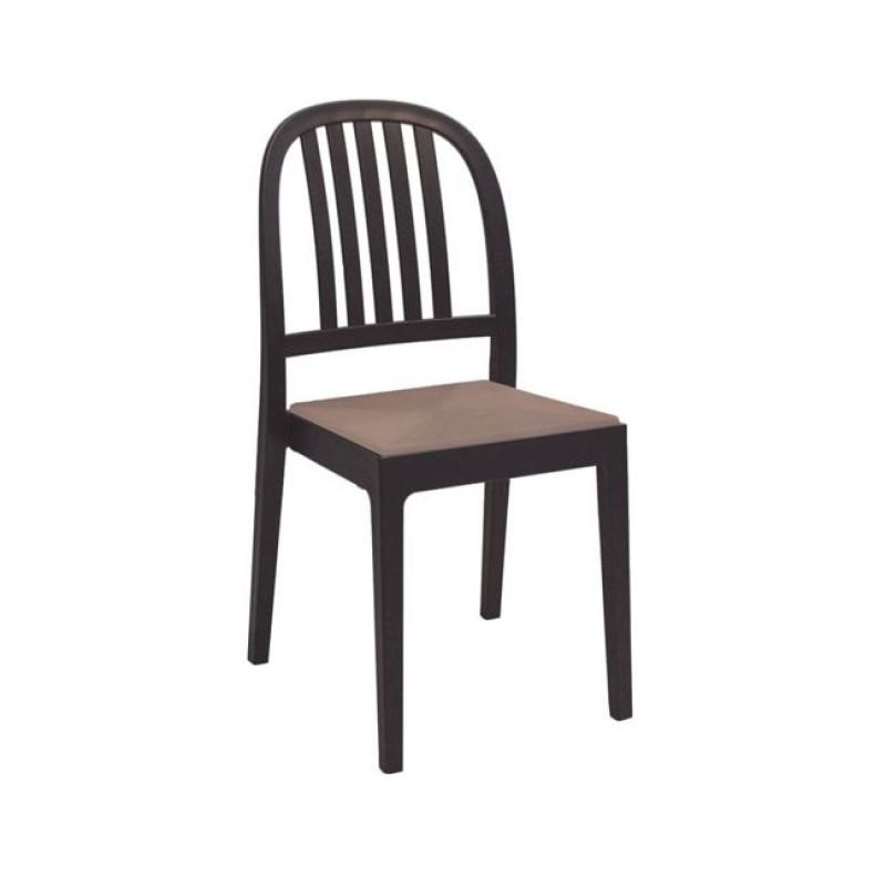 """Καρέκλα """"ERA"""" από πολυπροπυλένιο σε χρώμα καφέ 44x53x89"""