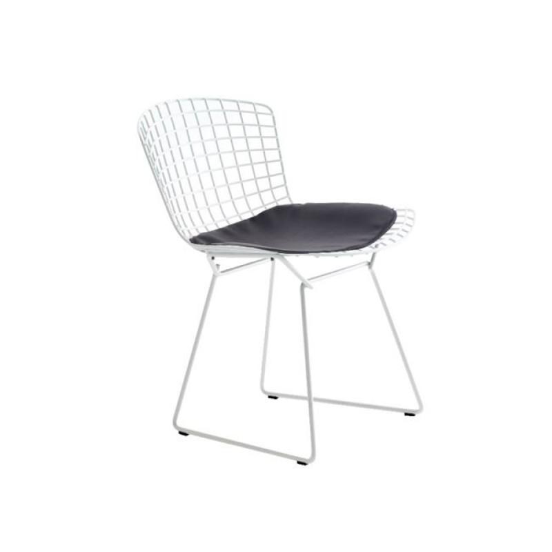 """Καρέκλα """"SAXON"""" μεταλλική με πλέγμα σε λευκό χρώμα 54x56x83"""