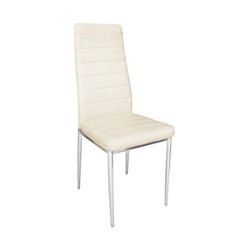 """Καρέκλα """"JETTA-I"""" χρωμίου-pvc σε χρώμα εκρού 40x50x95"""