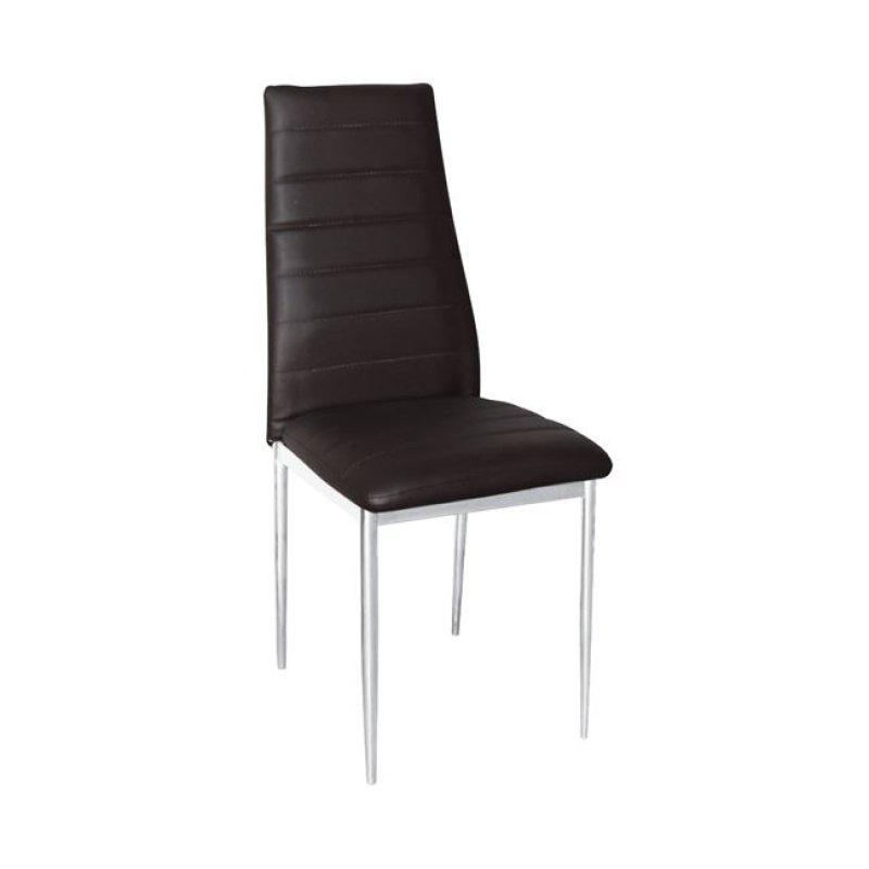 """Καρέκλα """"JETTA-I"""" χρωμίου-pvc χρώματος σκούρο καφέ 40x50x95"""