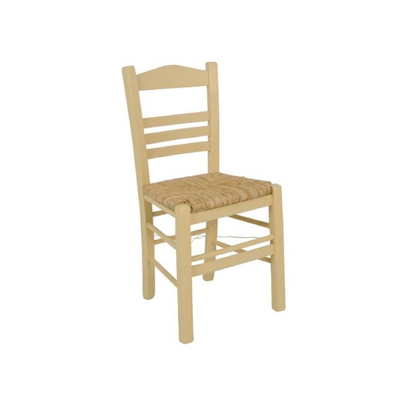 """Καρέκλα """"ΣΙΦΝΟΣ"""" με ψάθα και λάκα εμποτισμού κρεμ 41x45x88"""