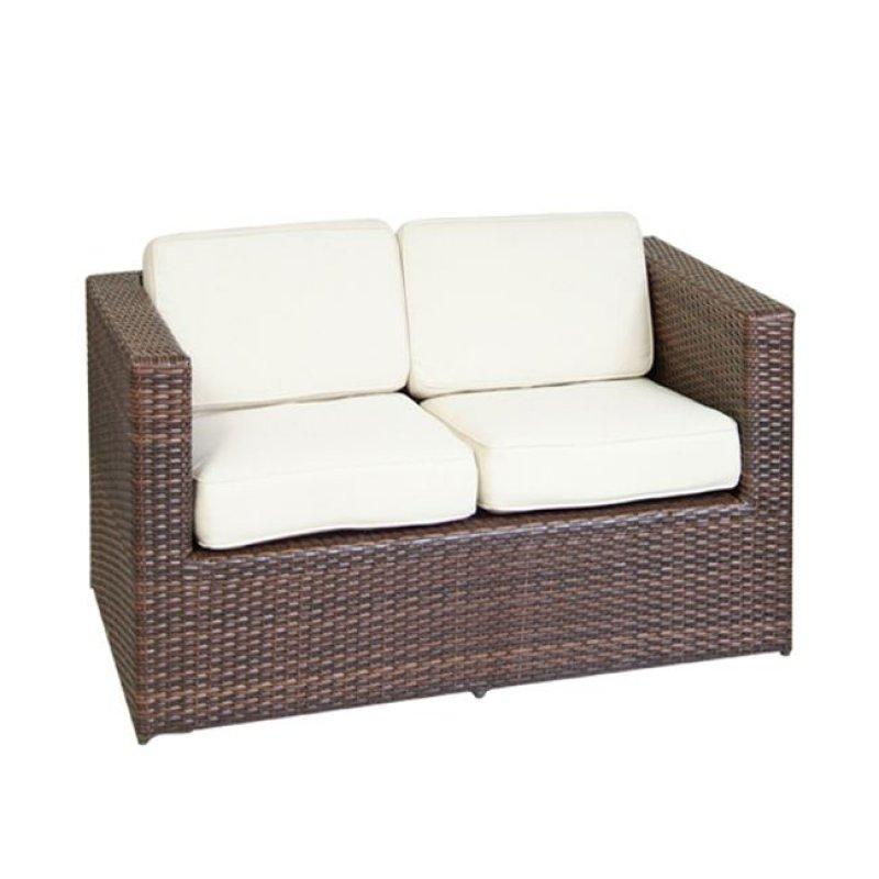 """Καναπές """"BENEFIT"""" διθέσιος αλουμινίου με πλέκη wicker σε καφέ χρώμα 127x67x67"""
