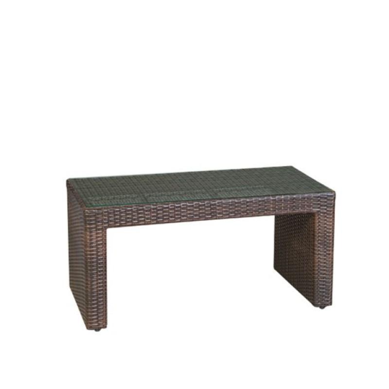"""Τραπέζι """"BENEFIT"""" αλουμινίου με πλέξη wicker σε καφέ χρώμα 100x50x52"""