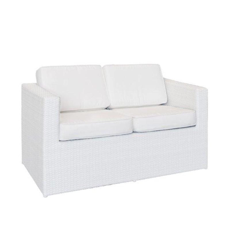 """Καναπές """"BENEFIT"""" διθέσιος αλουμινιού με πλέξη wicker σε λευκό χρώμα 127x67x67"""