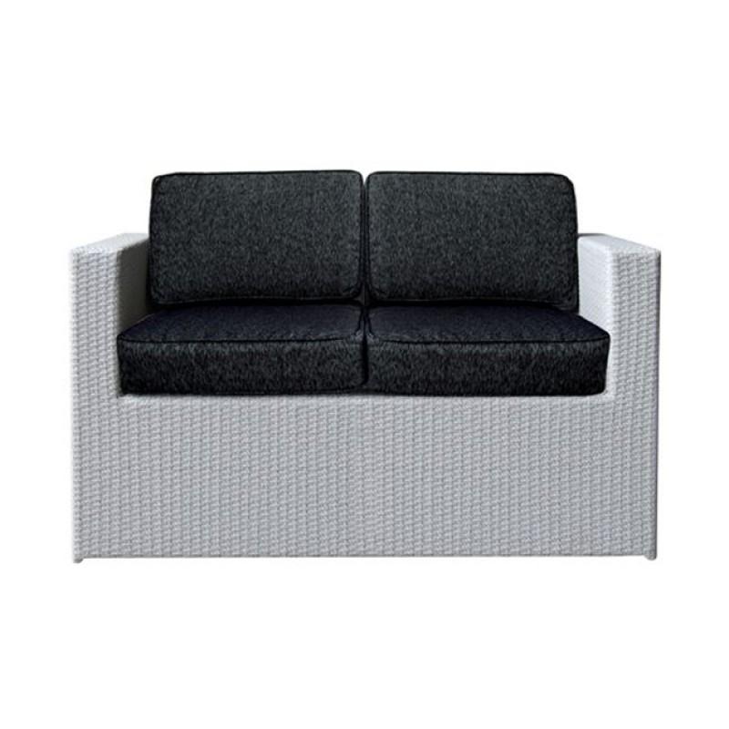 """Καναπές """"BENEFIT"""" διθέσιος αλουμινιού με πλέξη wicker σε γκρι χρώμα 127x67x67"""