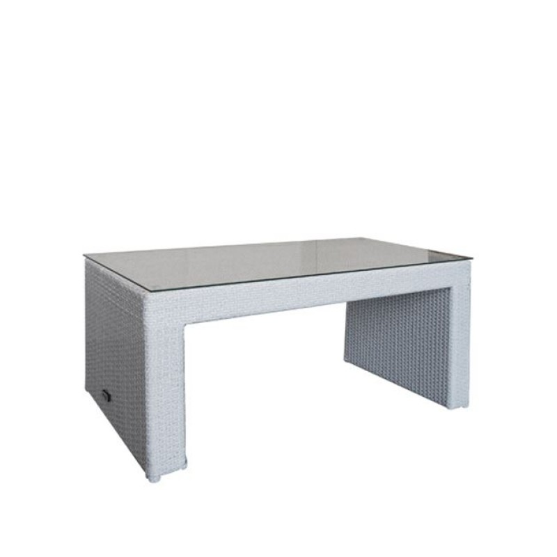 """Τραπέζι """"BENEFIT"""" αλουμινίου με πλέξη wicker σε σε γκρι χρώμα 100x50x52"""