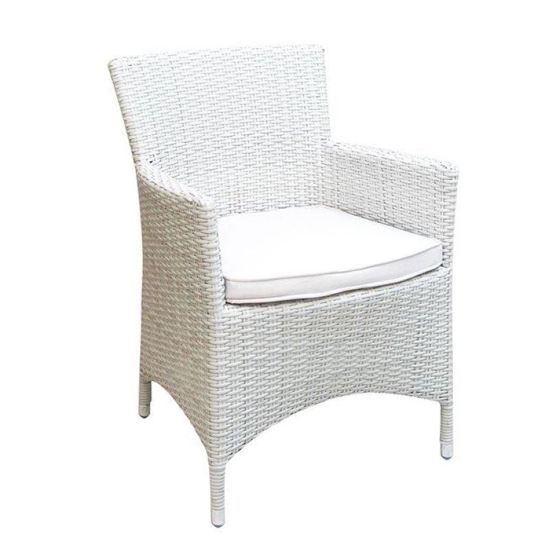 """Πολυθρόνα """"BOSTONIAN"""" αλουμινίου με πλέξη wicker σε λευκό χρώμα 58x57x85"""