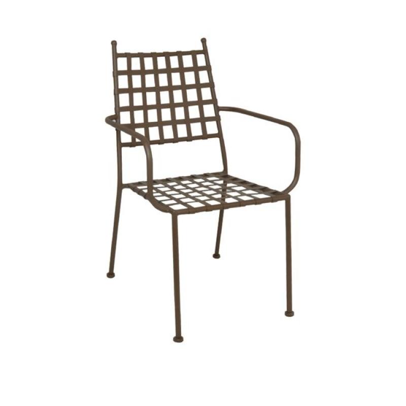"""Πολυθρόνα """"PATON """" μεταλλική σε χρώμα cappuccino 57x65x92"""