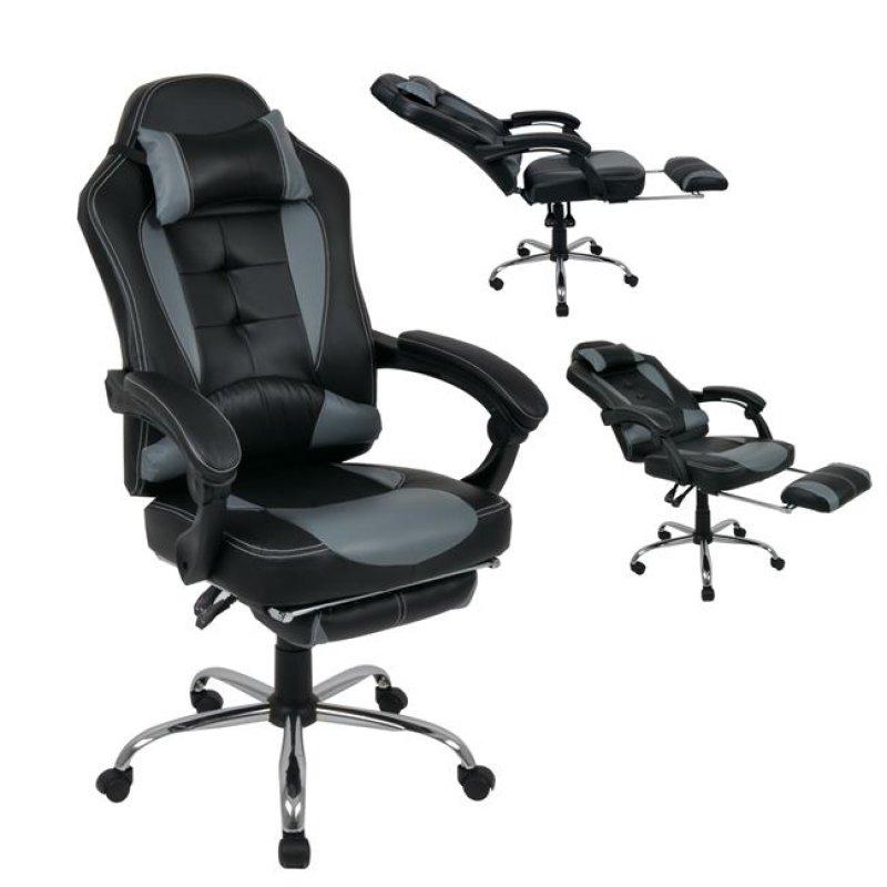 """Πολυθρόνα διευθυντή """"RELAX"""" από τεχνόδεμα σε μαύρο-γκρι χρώμα 66x72x120/130"""