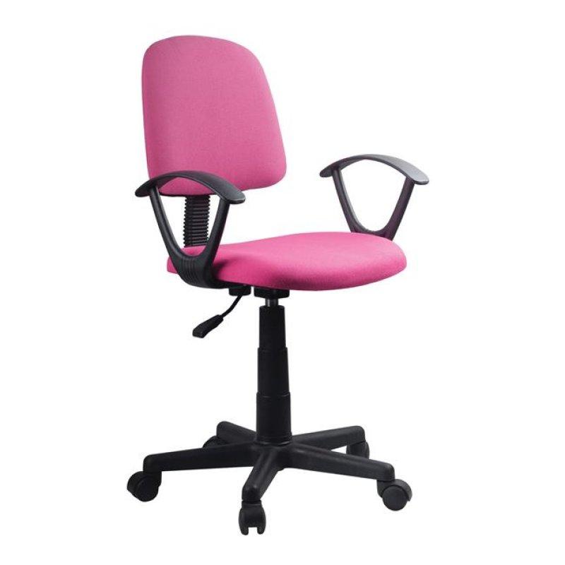 Πολυθρόνα εργασίας από ύφασμα σε ροζ χρώμα 55x48x82/94