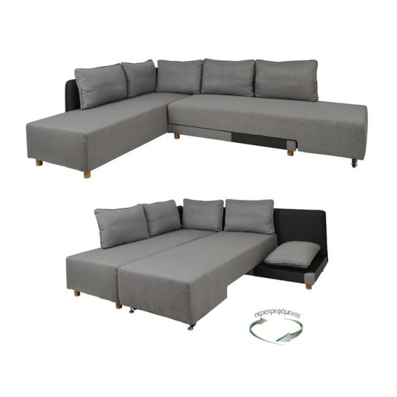 """Καναπές-κρεβάτι """"UNITY"""" γωνία από ύφασμα σε γκρι χρώμα 256x188x81"""