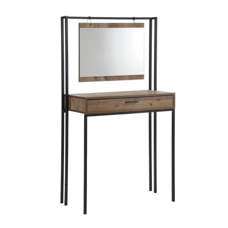 """Κονσόλα """"PALLET"""" με καθρέπτη σε χρώμα δρυς-καρυδί 84x40x150"""