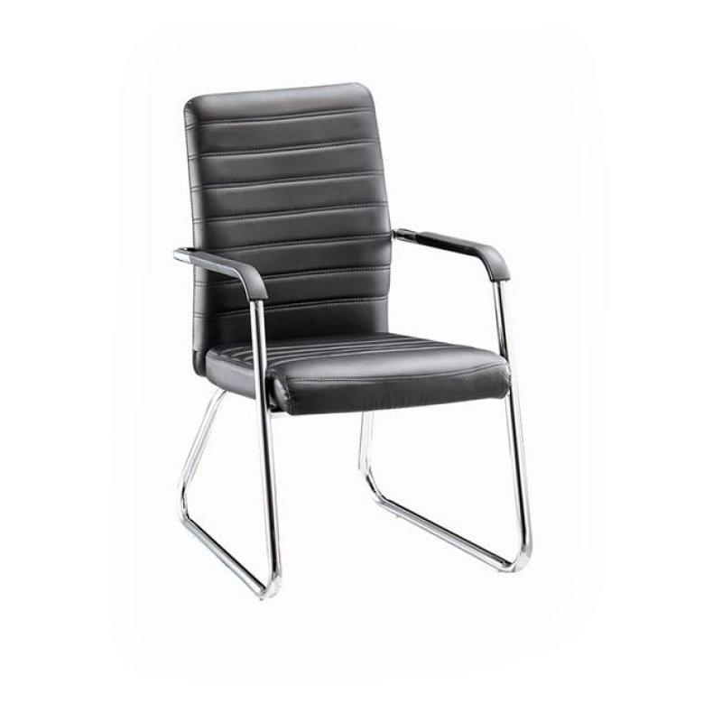 """Πολυθρόνα επισκέπτη """"COLLET """" χρωμίου από τεχνόδερμα σε μαύρο χρώμα 55x64x95"""
