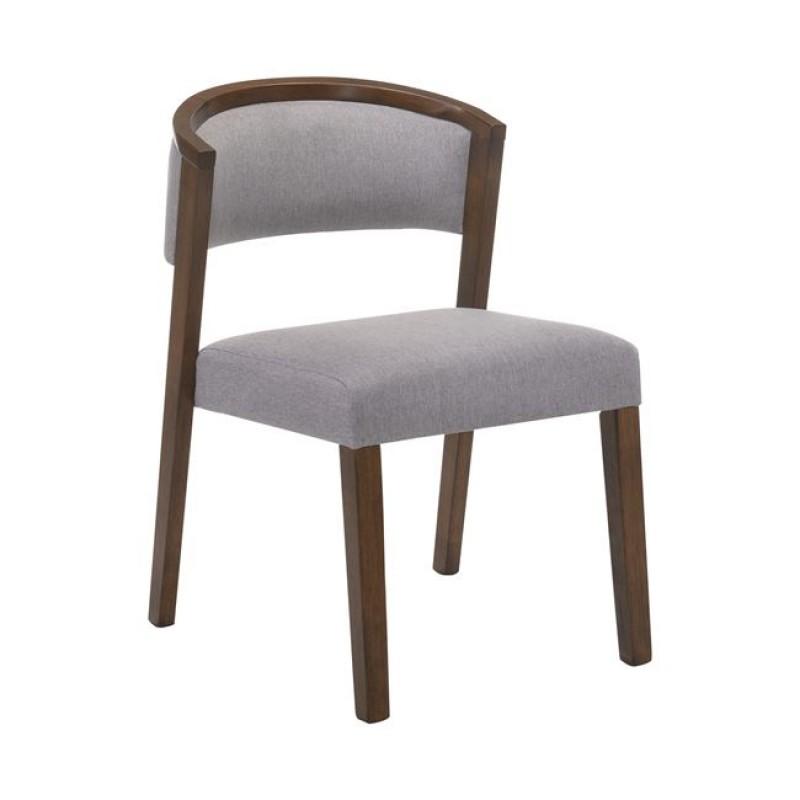 """Καρέκλα """"KEVIN"""" καρυδί με ύφασμα σε γκρι χρώμα 51x59x80"""