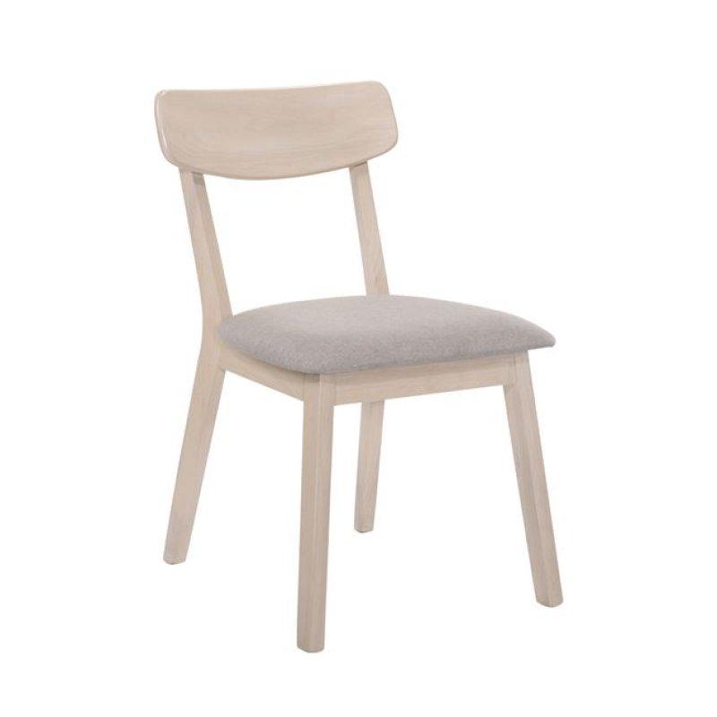 """Καρέκλα """"CALVIN"""" white wash με ύφασμα σε sand χρώμα 45x52x80"""