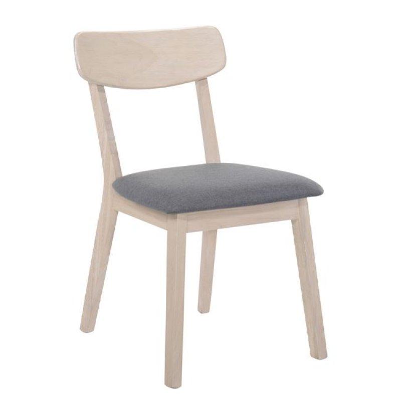 """Καρέκλα """"CALVIN"""" white wash με ύφασμα σε σκούρο γκρι 45x52x80"""