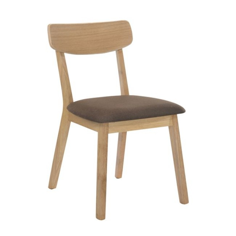 """Καρέκλα """"CALVIN"""" ξύλινη-υφασμάτινη σε σκούρο καφέ χρώμα 45x52x80"""