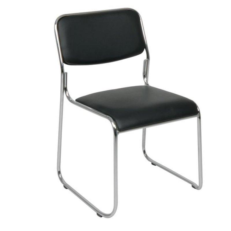 """Καρέκλα επισκέπτη """"CAMPUS"""" χρωμίου από τεχνόδερμα σε μαύρο χρώμα 51x52x78"""