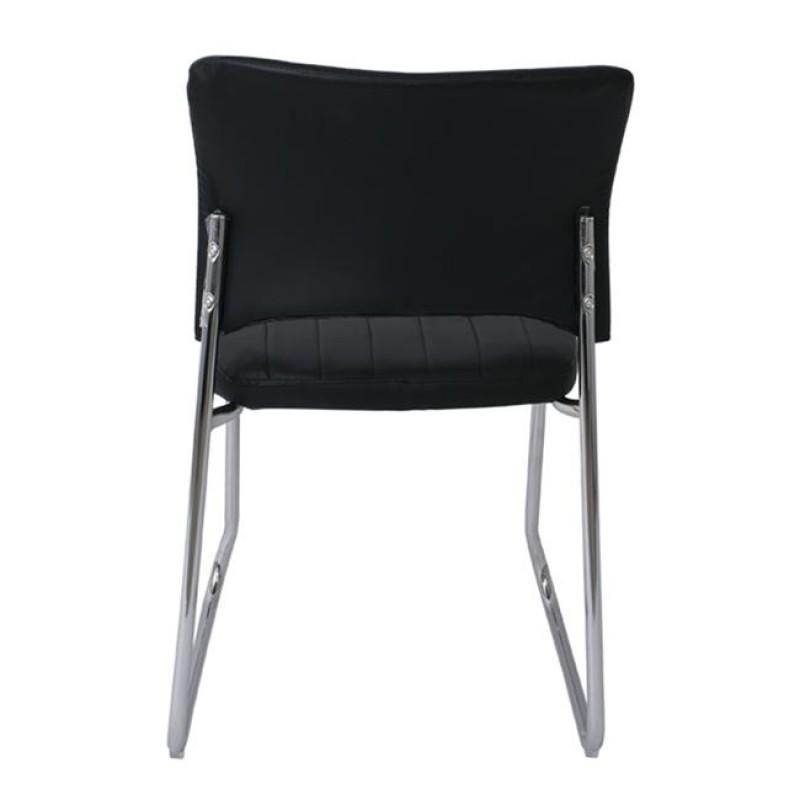 """Καρέκλα επισκέπτη """"VENUS"""" χρωμίου από τεχνόδερμα σε μαύρο χρώμα 50x56x84"""