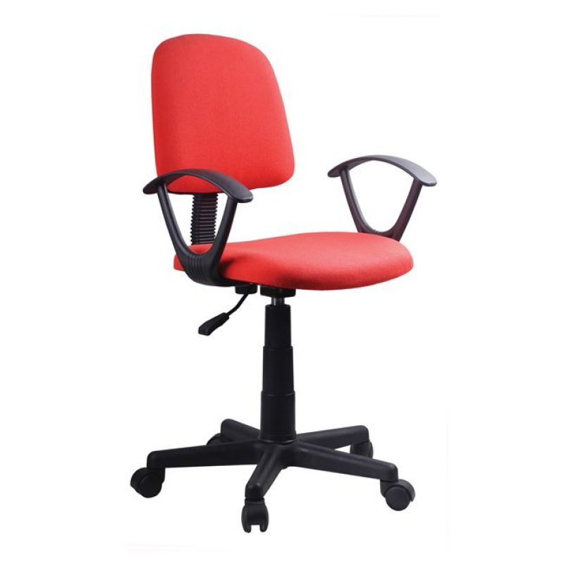 Πολυθρόνα εργασίας από ύφασμα σε κόκκινο χρώμα 55x48x82/94