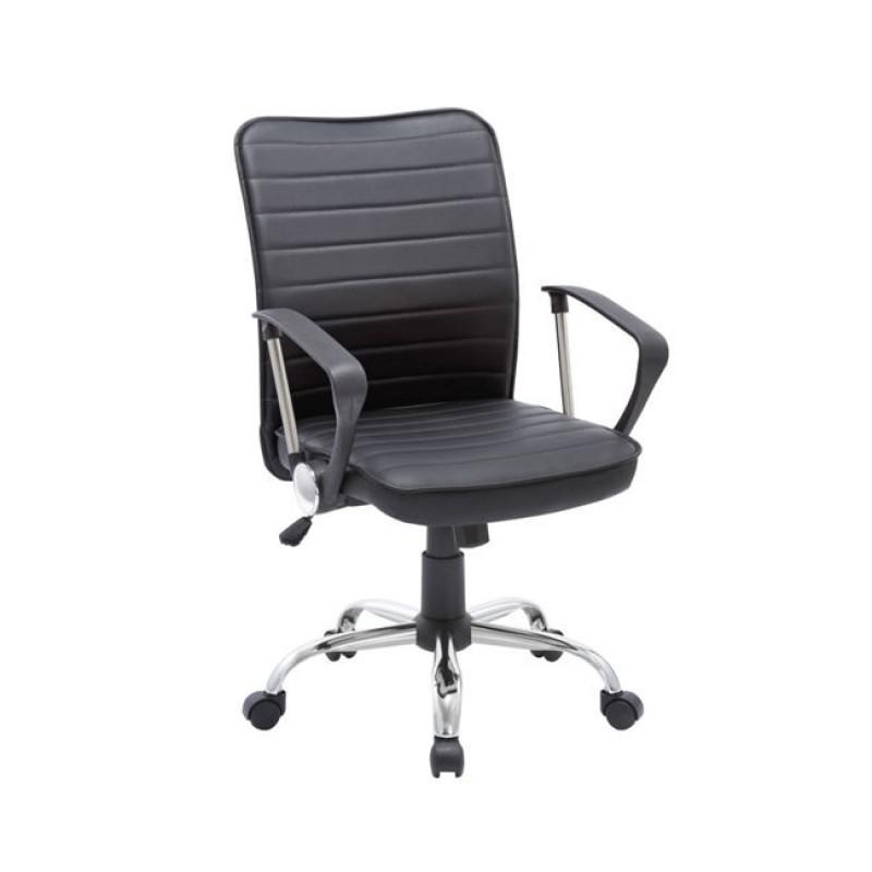 Πολυθρόνα εργασίας χρωμίου από τεχνόδερμα σε μαύρο χρώμα 57x64x90/100