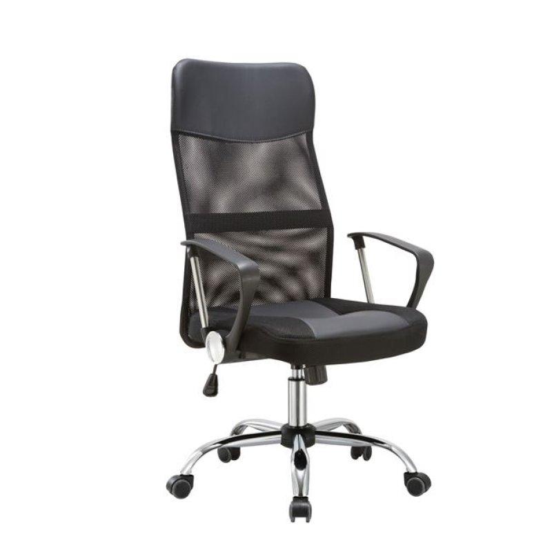 Πολυθρόνα διευθυντή από mesh και τεχνόδερμα σε μαύρο χρώμα 61x68x108/118