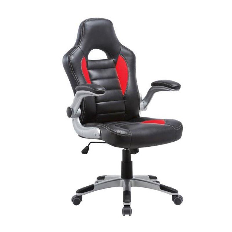 """Πολυθρόνα διευθυντή """"BUCKET"""" από τεχνόδερμα σε μαύρο-κόκκινο χρώμα 64x68x108/118"""