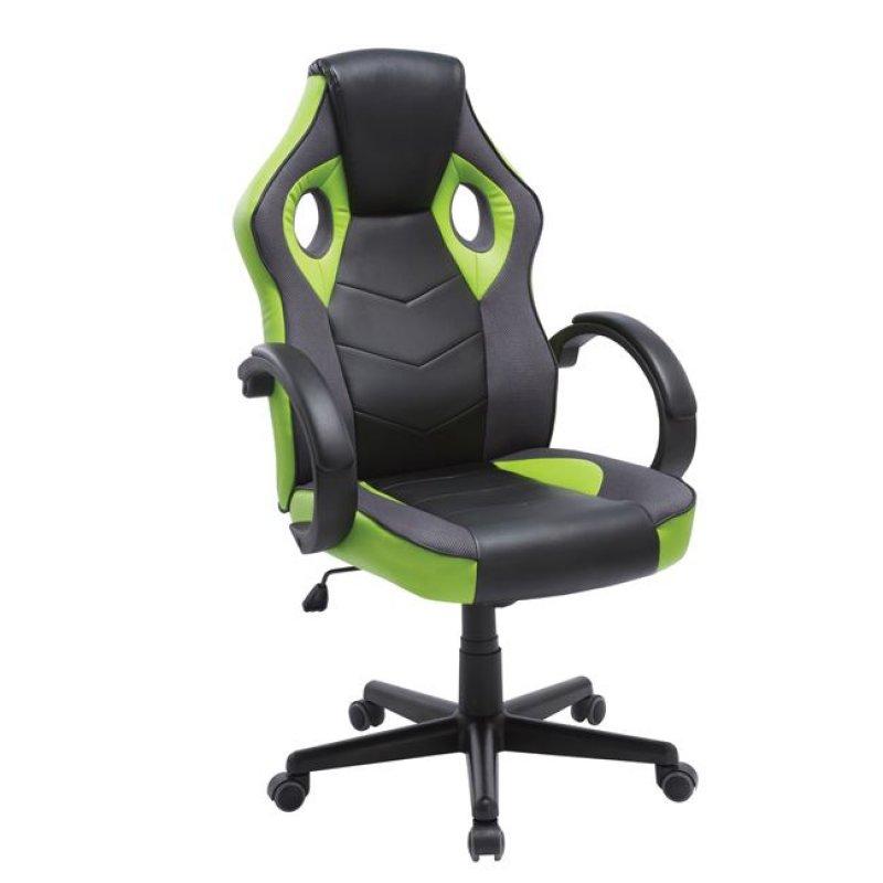 """Πολυθρόνα διευθυντή """"BUCKET"""" από τεχνόδερμα σε μαύρο/πράσινο χρώμα 63x74x108/118"""
