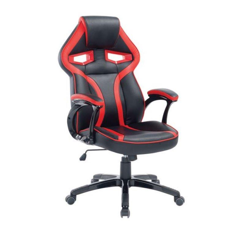 """Πολυθρόνα διευθυντή """"BUCKET"""" από τεχνόδερμα σε μαύρο/κόκκινο χρώμα 63x71x115/125"""