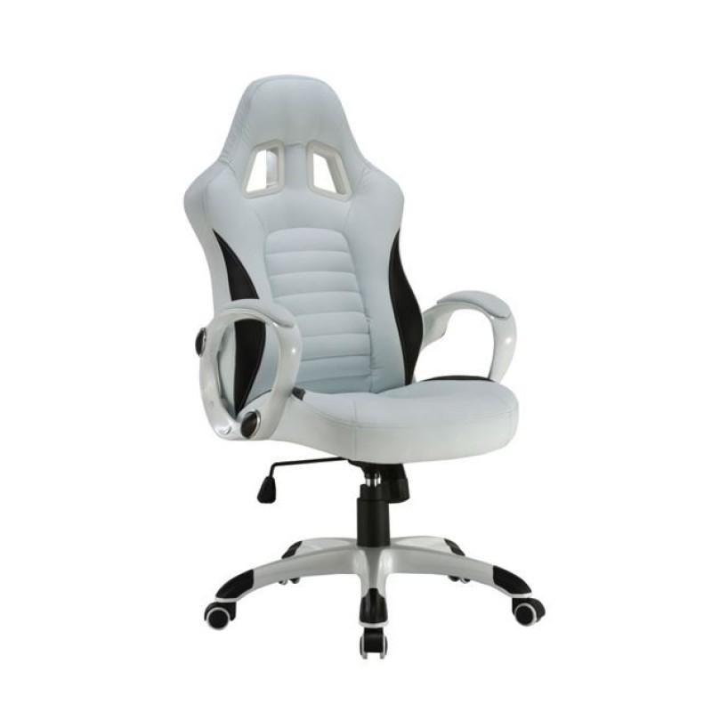 """Πολυθρόνα διευθυντή """"BUCKET"""" από τεχνόδερμα σε λευκό/μαύρο χρώμα 63x71x115/125"""