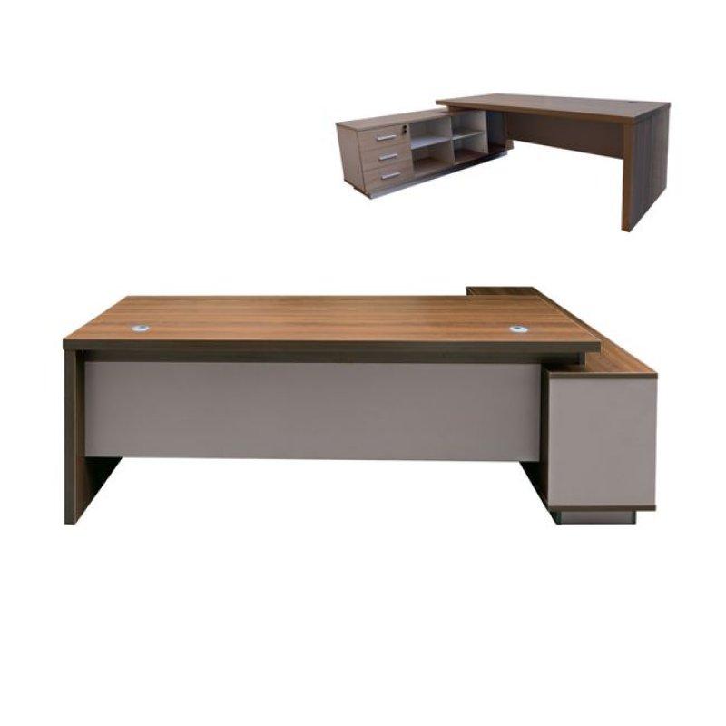 """Γραφείο """"ATLAS"""" αριστερή γωνία σε χρώμα σκούρο καρυδί-καφέ 180x160x75"""
