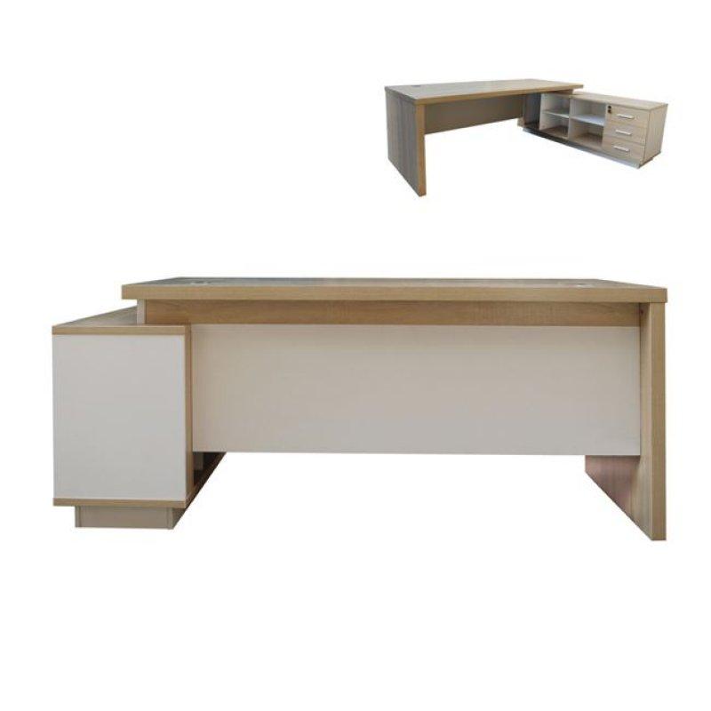 """Γραφείο """"ATLAS"""" δεξιά γωνία σε χρώμα σονόμα-λευκό 180x160x75"""