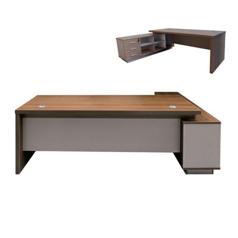 """Γραφείο """"ATLAS"""" αριστερή γωνία σε χρώμα σκούρο καρυδί-καφέ 220x160x75"""
